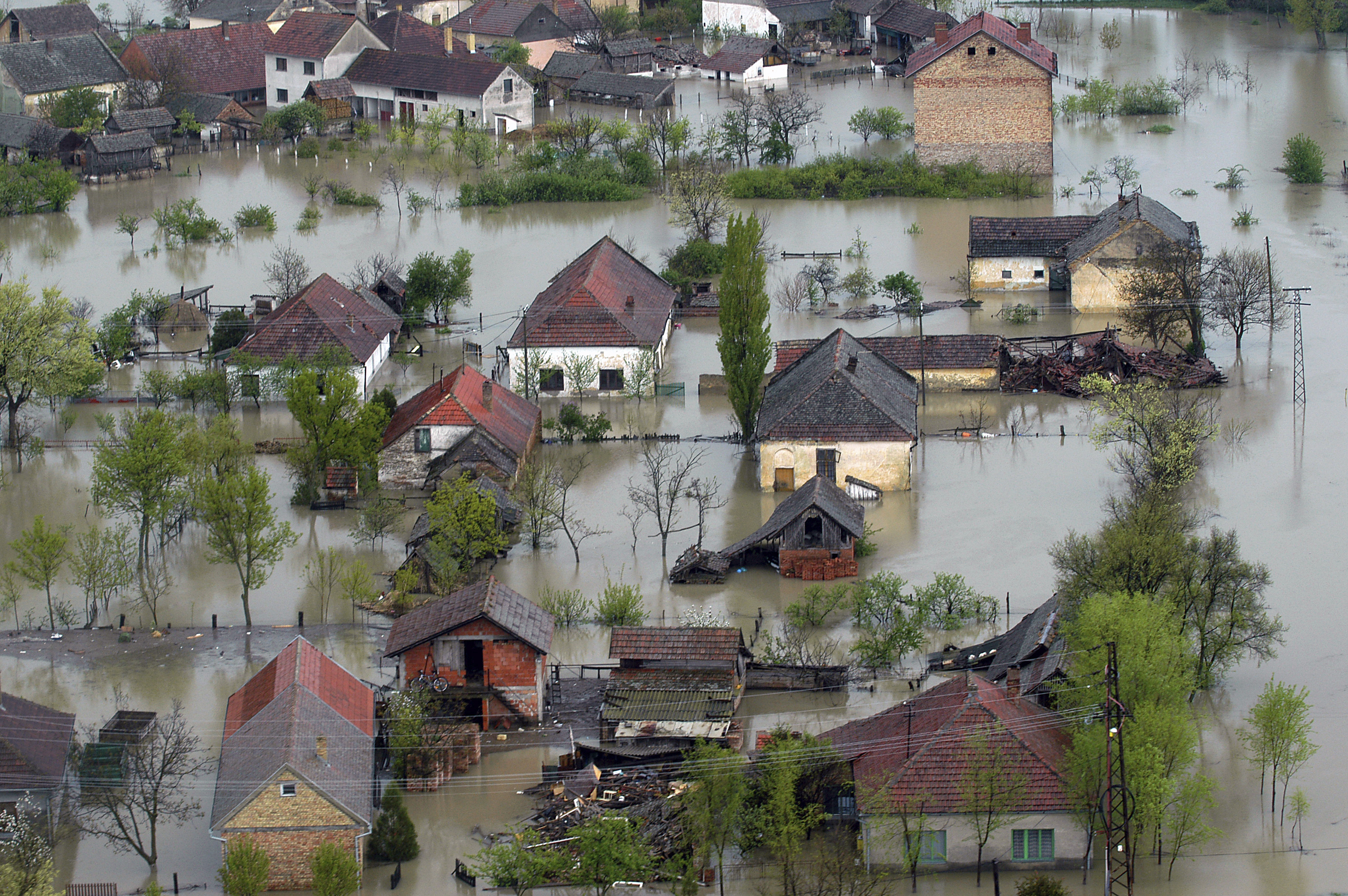 Flooded house aerial view